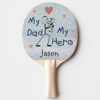 Father's Day My Hero Dad with Son Ping Pong Paddle
