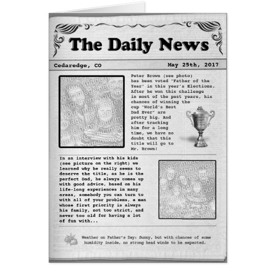 Father's Day Newspaper (customisable) Card