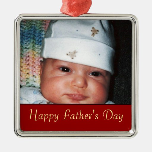 Fathers Day Photo Keepsake Silver-Colored Square Decoration