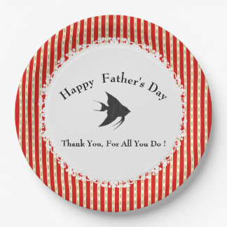Father's-Day-Red-Gold-Celebration-Template 9 Inch Paper Plate