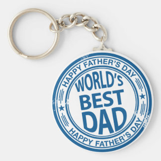 Father's day rubber stamp effect basic round button key ring