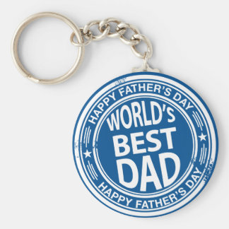 Father's day rubber stamp effect -white- basic round button key ring