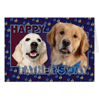 Father's Day Sailboat Cut Out - Golden Retrievers Greeting Card