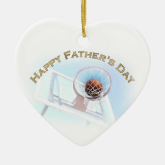 Father's Day Sports Basketball Ceramic Heart Decoration