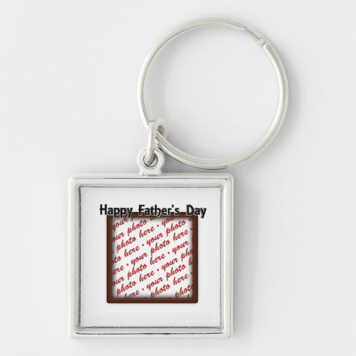 Father's Day Square Brown Photo Frame Keychains