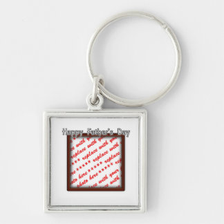 Father's Day Square Brown Photo Frame Silver-Colored Square Key Ring