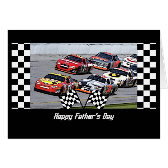 Father's Day Stock Car Racing Chequered Details Card