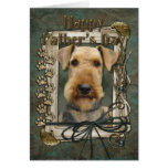 Fathers Day - Stone Paws - Airedale Greeting Cards