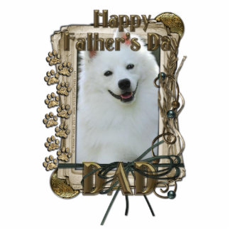 Fathers Day - Stone Paws - American Eskimo - Dad Standing Photo Sculpture