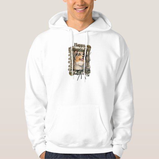 Fathers Day - Stone Paws - Australian Shepherd Hooded Sweatshirt