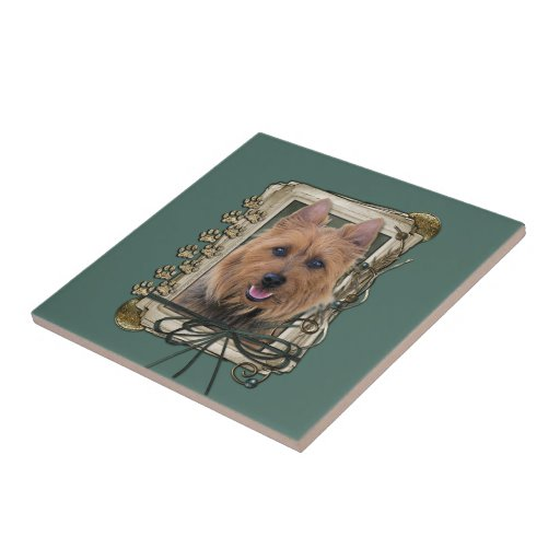 Fathers Day - Stone Paws - Australian Terrier Small Square Tile