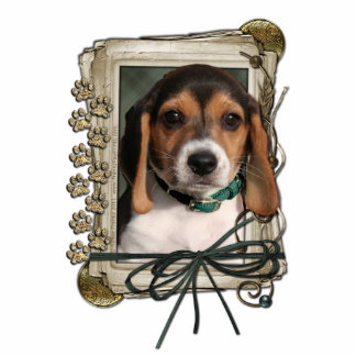 Fathers Day - Stone Paws - Beagle Puppy Standing Photo Sculpture