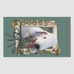 Fathers Day - Stone Paws - Bedlington Terrier Rectangle Stickers
