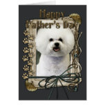 Fathers Day - Stone Paws - Bichon Frise Greeting Card