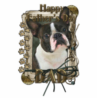 Fathers Day - Stone Paws - Boston Terrier - Dad Standing Photo Sculpture