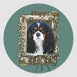 Fathers Day - Stone Paws - Cavalier - Dad Round Stickers