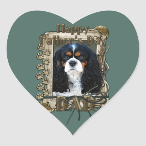 Fathers Day - Stone Paws - Cavalier - Tri-Colour Heart Sticker