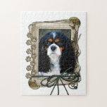 Fathers Day - Stone Paws - Cavalier - Tri-Colour Jigsaw Puzzle