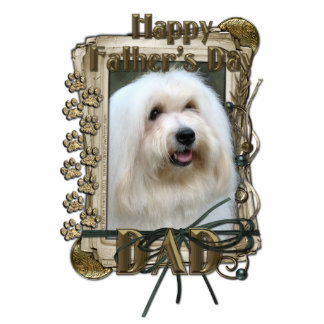 Fathers Day - Stone Paws - Coton de Tulear - Dad Standing Photo Sculpture