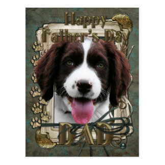 Fathers Day -Stone Paws - English Springer Spaniel Postcard