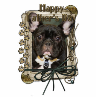 Fathers Day - Stone Paws - French Bulldog - Teal Standing Photo Sculpture