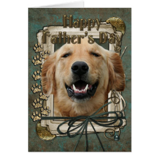 Fathers Day - Stone Paws - Golden Retriever Greeting Card