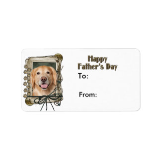 Fathers Day - Stone Paws Golden Retriever - Corona Address Label