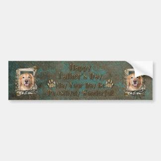 Fathers Day - Stone Paws Golden Retriever - Corona Bumper Sticker