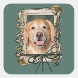Fathers Day - Stone Paws Golden Retriever - Corona Square Sticker