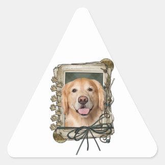Fathers Day - Stone Paws Golden Retriever Corona Triangle Sticker