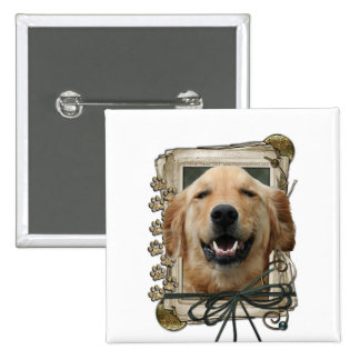 Fathers Day - Stone Paws - Golden Retriever Mickey Pinback Buttons