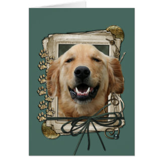 Fathers Day - Stone Paws - Golden Retriever Mickey Greeting Card