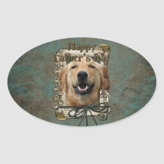 Fathers Day - Stone Paws -Golden Retriever -Mickey Oval Sticker