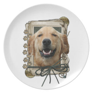 Fathers Day - Stone Paws - Golden Retriever Mickey Plates