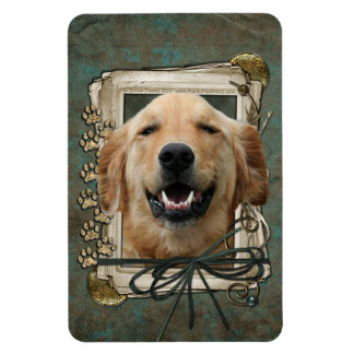 Fathers Day - Stone Paws - Golden Retriever Mickey Rectangular Magnet