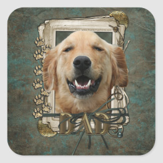 Fathers Day - Stone Paws -Golden Retriever -Mickey Square Sticker