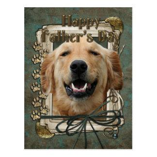 Fathers Day - Stone Paws - Golden Retriever Postcard