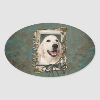 Fathers Day - Stone Paws - Golden Retriever Tebow Oval Sticker