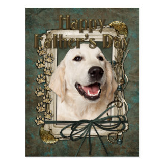 Fathers Day - Stone Paws - Golden Retriever Tebow Postcard
