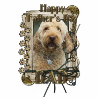 Fathers Day - Stone Paws - GoldenDoodle - Dad Standing Photo Sculpture