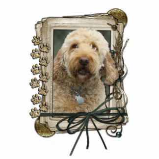 Fathers Day - Stone Paws - GoldenDoodle Standing Photo Sculpture
