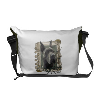 Fathers Day - Stone Paws - Great Dane - Grey Messenger Bags