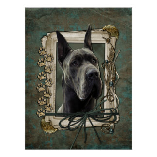 Fathers Day - Stone Paws - Great Dane - Grey Posters