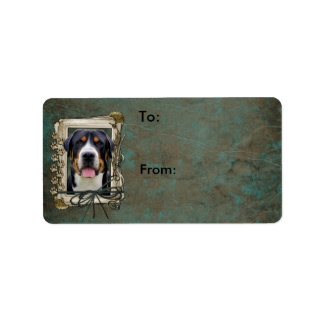 Fathers Day - Stone Paws - Greater Swiss Mountain Address Label