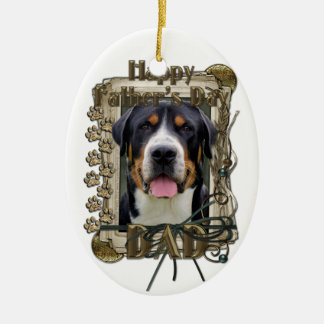 Fathers Day - Stone Paws - Greater Swiss Mountain Double-Sided Oval Ceramic Christmas Ornament
