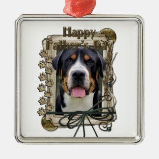 Fathers Day - Stone Paws - Greater Swiss Mountain Square Metal Christmas Ornament