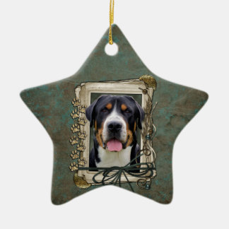 Fathers Day - Stone Paws - Greater Swiss Mountain Ceramic Star Decoration