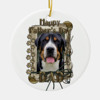 Fathers Day - Stone Paws - Greater Swiss Mountain Double-Sided Ceramic Round Christmas Ornament
