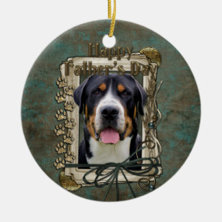 Fathers Day - Stone Paws - Greater Swiss Mountain Round Ceramic Decoration