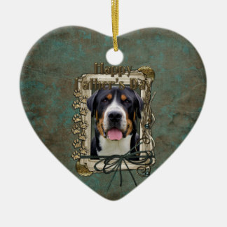 Fathers Day - Stone Paws - Greater Swiss Mountain Ceramic Heart Decoration